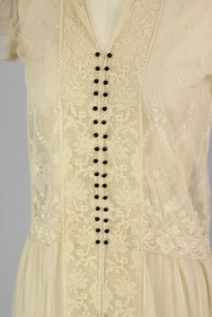 1920s French Filet Lace & Tambour Embroidery Tea Dress