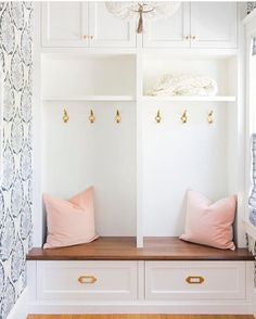 All the things in this mudroom (including our #mcgeeandco blush velvet pillows)…