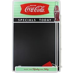 """Wood chalkboard features the """"Arciform"""" logo (also called the fishtail, a common advertising element seen in Coke ads from 1958 until 1965). With chalk and eraser for jotting down phone messages, shopping lists, to-do items, etc."""