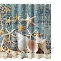 Coastal Beach Seaside Bath Shower Curtain Sand Dollar Fishnet Starfish Seashells