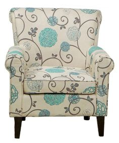 This beautiful Flowered Fabric Club Chair features a cream fabric with blue and grey floral print. Tapered legs add modern detail while the rolled arms and back offer a classic silhouette. $436.99 ...