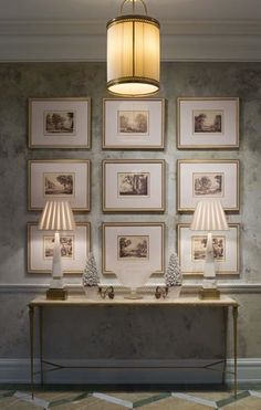 We could do this picture grouping above your buffet, flanked by two mirrors OR we could do it on the opposite wall on its own.