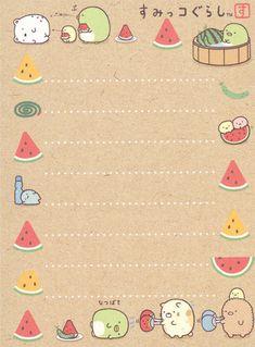"San-X Sumikko Gurashi ""Summer"" Mini Memo Memo Template, Notes Template, Watercolor Wallpaper Phone, Powerpoint Background Design, Memo Notepad, Note Doodles, Printable Scrapbook Paper, Cute Notes, Notes Design"