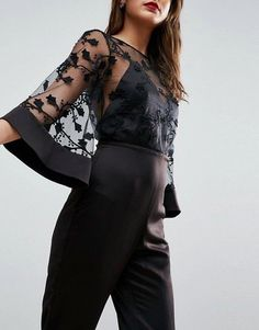 Find the best selection of ASOS Jumpsuit with Lace Bodice and Contrast Satin Pant. Shop today with free delivery and returns (Ts&Cs apply) with ASOS! Lovely Dresses, Stylish Dresses, Beautiful Outfits, Classic Outfits, Casual Outfits, Hijab Fashion, Fashion Dresses, Hijab Stile, Haute Couture Dresses