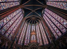 Sainte-Chapelle Paris, France building stained glass landmark gothic architecture glass chapel cathedral dome symmetry place of worship material medieval architecture religion byzantine architecture basilica arch daylighting #gothicarchitecture