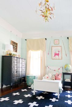 navy, mint and those window treatments