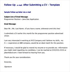 write a follow up email for a job application employment careers