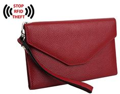 YALUXE Women's RFID Blocking Leather Large Wristlet Clutch Passport Checkbook Wallet(Gift Box) Pebbled Red - Identity Theft is on the Rise...Everyone knows someone who has been a victim of identity theft, who has gone through the seemingly endless nightmare of battling credit agencies, banks and credit card companies to reverse fraudulent transactions and restore one's good credit.Unfortunately accordin...