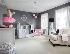 Wall color is Mickey's Shadow from Behr at Home Depot  Pink and Grey Damask Bedding from Carousel designs. http://www.babybedding.com/pink-and-gray-damask-crib-bedding