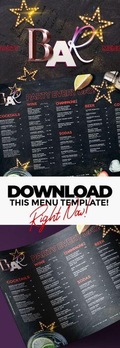 Drinks Menu Drink menu, Menu templates and Template - bar menu template