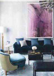 petrol and purple living room