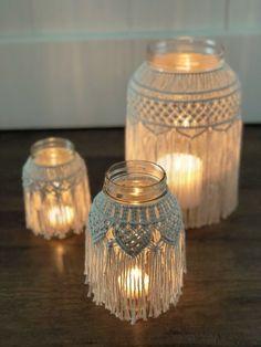 wedding tips Medium Macrame Jar Video Tutorial Deco Addict, Creation Deco, Macrame Cord, Macrame Patterns, Weaving Patterns, Cute Photos, Diy Home Decor, Mason Jars, Diy And Crafts