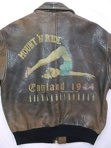 Image detail for -Vintage AVIREX A-2 Leather Bomber Jacket WW2 PIN-UP Nose Art MOUNT 'N ...