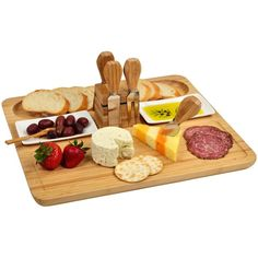 Picnic at Ascot Sherborne Bamboo Cheese Board Set with Cheese Tools (€57) ❤ liked on Polyvore featuring home, kitchen & dining, serveware, food, brown, bamboo serveware, bamboo dishes, bamboo forks, cheese knife and cheese serving tray