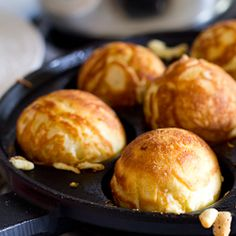 Aebelskivers - These Danish pancake balls have a crisp golden crust and fluffy, cardamom-spiced insides.