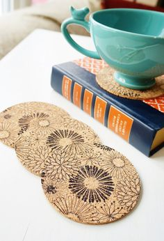 Flower Bouquet Coasters  Set of 4 by thetullebox on Etsy, $13.75