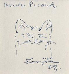 Léonard Foujita. Tête de chat.  Dessin au stylo-bille exécuté sur une carte postale de restaurant, daté 58, avec envoi à Jacques Picard. 7,5 x 7 cm