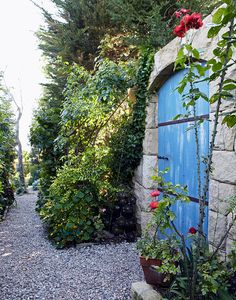 The lovely blue door gives the stone wall an air of mystery in this garden path.