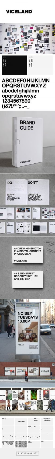 """The branding for Vice's new TV channel, VICELAND, emphasizes whitespace over all other design elements. The simplicity of their designs, often just bold type against a white or black background, suggests straightforwardness and boldness of vision. Viceland's brand styling reinforces their identity as a source of news that speaks to their audience frankly and with blunt candor. The use of whitespace underscores that Viceland """"cuts through the bullshit."""""""