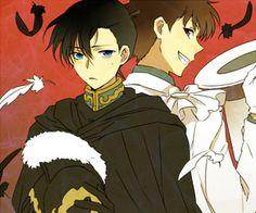 Shinichi as the knight (which name I've forgotten) and Kaito as. Me Me Me Anime, Anime Guys, Manga Anime, Anime Art, Detective Conan Shinichi, Magic For Kids, Kaito Kuroba, Gosho Aoyama, Kaito Kid