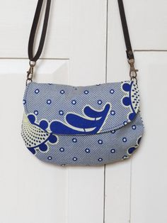 African Cloth Hip Bag Blue and White Flower by LoveduLiving, £35.00