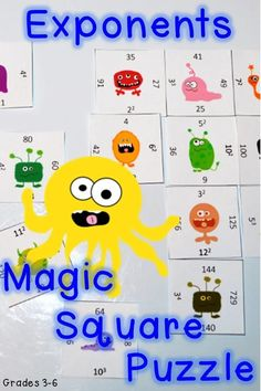 Do your students need more practice with exponents? Then try this Exponents Magic Square Puzzle! It's a great game that will keep students engaged, thinking, and learning! It's perfect for 3rd, 4th, 5th, or 6th grade students. Use it for test prep, math centers, stations, rotations, games, review, critical thinking, working on a growth mindset, and much more! Fun Math, Math Games, Math Activities, Math Class, Math Resources, 3rd Grade Classroom, 8th Grade Math, Fourth Grade, Third Grade