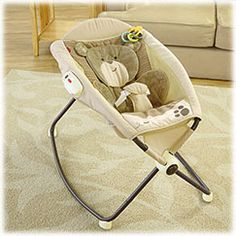 Fisher-Price My Little Snugabear Deluxe Newborn Rock 'n Play™ Sleeper See more at: http://www.fisher-price.com/en_US/brands/babygear/products/78400#sthash.4MvHgMmv.dpuf  It's an inclined sleeper and playtime seat in one! An extra-deep seat with an ultra-plush headrest (with adorable bear ears!) and insert, along with the inclined seat help baby sleep all night long. Calming vibrations add to the restful environment.