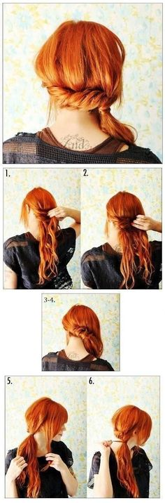 Braid long hair into a low ponytail. | Hairstyle You Can Do In Less Than 5 Minutes