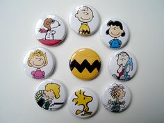 Childhood memories, good as a party favor. Peanuts Charlie Brown Pinback Buttons. $5.00, via Etsy.