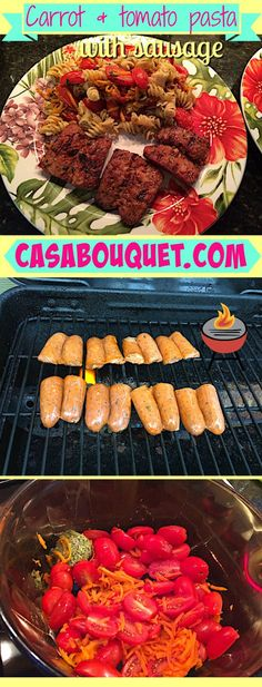 Carrot and tomato pasta with grilled sausage make a gluten free, egg free pasta…