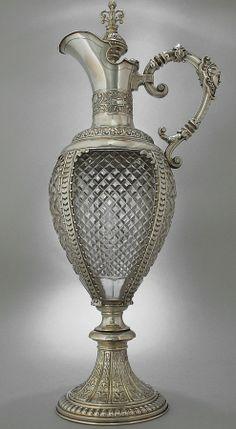 GERMAN SILVER AND CLARET JUGS, Meyen & Co Berlin -  1880 Cut Glass, Glass Art, Vintage Silver, Antique Silver, Art Nouveau, Carafe, Decanter, Bronze, Antique Glass