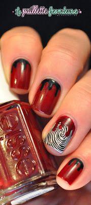 Crime scene nails! Cute for Halloween