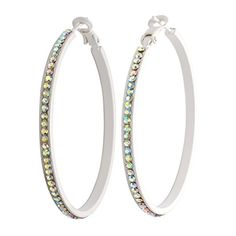 BILONG Milky White With Colorful CZ Stones Hoop Earings ** Check out the image by visiting the link. Note:It is Affiliate Link to Amazon.