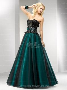 A-line Strapless Dark Green Feather Beading Tulle Floor-length Formal Dress