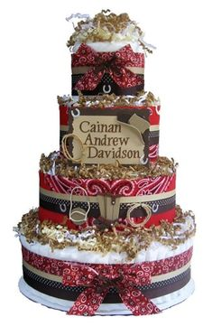 Personalized 4 Tier Cowboy/ Western Diaper Cake