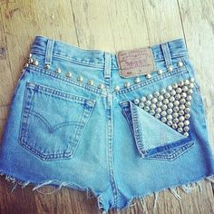diy studded shorts...I'm going to make some this summer.