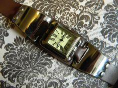 Cool Steampunk Cuff Wrist Watch  Vintage by CuriosityShopper