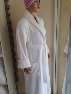 White cotton bath robe Traditional Outfits, White Cotton, Dresses With Sleeves, Bath, Long Sleeve, Clothes, Fashion, Dress, Outfits