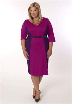 Fierce Plus Size Madrid Dress in Magenta and Purple