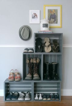 Old crates can make for a great shoe organizing solution in the entryway. #OrganizingHacks