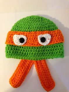 Ninja Turtle Crochet Baby Hat Pattern : Crochet animal/face hats on Pinterest Repeat Crafter Me ...
