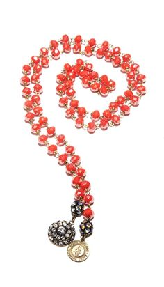 Tangerine Orange Tessa Love Strand necklace with vintage Swarovski crystal charm and our original Saint Vintage Tag.  36""