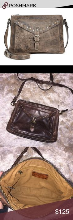 """•Patricia Nash• Avellino Crossbody Gently used. Distressed look. Color is chocolate - leather. Clean inside. Color is darker than first pic (see last 3 pics for true color).   •Crossbody strap with 22"""" drop •Top zip closure •Interior features 1 zip pocket and 2 slip pockets •10-1/2"""" W x 7-1/2"""" H x 3-1/2"""" D  Smoke free home. No trades/holds Patricia Nash Bags Crossbody Bags"""