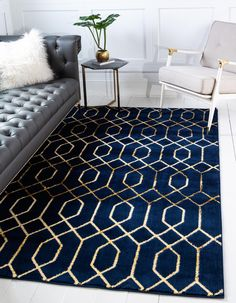Unique Loom Marilyn Monroe Glam Collection Textured Geometric Trellis Navy Blue Gold Area Rug 0 x Navy Bedrooms, Navy Living Rooms, My Living Room, Living Room Decor, Bedroom Decor, Bedroom Ideas, Preston, Blue And Gold Bedroom, Blue Gold