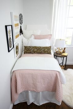 Blush and cheetah print dorm bedding and dorm room decor. Shop this years hottes. Blush and cheetah print dorm bedding and dorm room decor. Shop this years hottes… Blush and chee Dorm Bed Skirts, Bedroom Decor, Dorm Room Bedding, Apartment Bedding, College Apartment Bedding, Dorm Bedding Sets, Dorm Room Decor, College Dorm Room Decor, Room