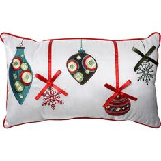Add a festive touch to your living room sofa or guest bed with this lovely pillow, showcasing a holiday ornament motif.Product: