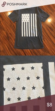 """Men's On The Byas T-shirt On The Byas men's American flag t-shirt. Has the """"worn"""" look on the byas Shirts Tees - Short Sleeve"""