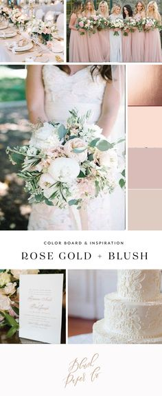 rose gold and blush wedding color inspiration by blush paper co.
