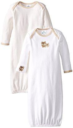 Gerber Unisex-Baby Newborn 2 Pack Lap Shoulder Gown Bear, Brown, 0-6 Months