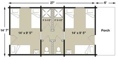 Two Room Bunkhouse for family - x 27 Elk Lodge, Bath. Add identical porch on back. One queen & one bunk on each side. Log Cabin Kits, Cabin Plans, House Plans, Bunk Houses, Elk Lodge, Beds For Small Spaces, Bunk Rooms, Dormitory, Tiny House Design